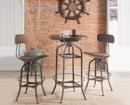 Kaeso Collection 723803SET 3 PC Bar Table Set with Round Shaped Bar Table and 2 Adjustable Height Bar Stools in Walnut and Gunmetal