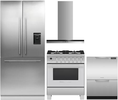 """Fisher Paykel 4 Piece Kitchen Appliances Package with RS36A80U1N 36"""" French Door Refrigerator  OR30SCG6X1 30"""" Dual Fuel Gas Range   HC30DTXB2 30"""" Wall Mount"""
