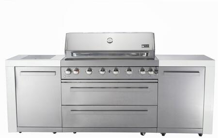 MAI805 805 Grill Island with Six 304 Stainless Steel Burners  Faux Granite Surface  Rotisserie Kit with Electric Motor  Halogen Lights  Knob Controls