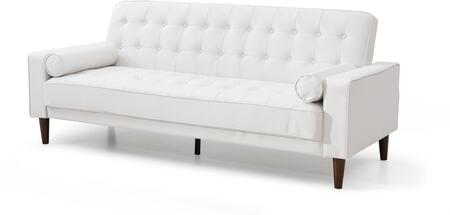 Navi Collection G847A-S 82 inch  Sleeper Sofa with 2 Bolster Pillows  Tapered Wood Legs  Track Arms  Button Tufted Cushions  Heavy Duty Springs and Faux Leather