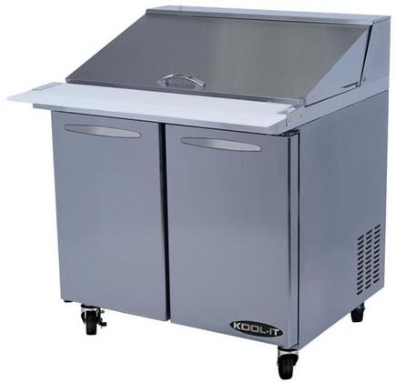 KSTM362 36 inch  Sandwich Prep Tables Mega Tops with 9.2 cu. ft. Capacity  2 Doors  2 Shelves  15 Pans  1/5 HP  in Stainless