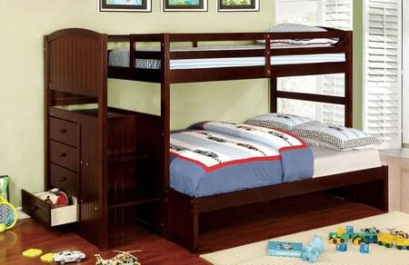 Appenzell Collection CM-BK922F-EX-BED Twin Over Full Size Bunk Bed with Built-In Drawers  Front Access Steps  Solid Wood and Wood Veneer Construction in Dark