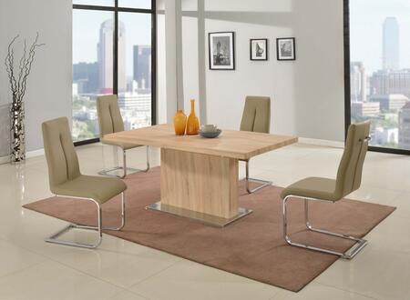 JACQUELIN-5PC JACQUELIN DINING 5 Piece Set - Light Oak/3D Paper Butterfly Extension Dining Table with 4 Taupe PU Cantilever Chairs with Back