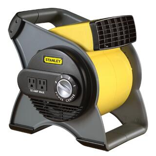 655704 Stanley High Velocity Blower Fan With Full-Range Pivoting Fan Head  Three High Velocity Speeds  Three-Prong Grounded Plug  Two Additional Outlets & Two