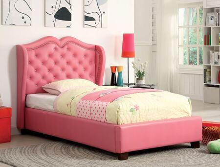 Monroe Collection CM7016PK-F-BED Full Size Platform Bed with Nailhead Trim  Button Tufting Headboard  Leatherette Upholstery  Solid Wood and Wood Veneers