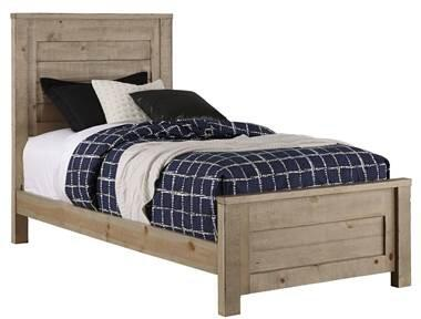 Wheaton B623-25-26-27 Twin Panel Bed with Molding Details and Ponderosa Pine Construction in Natural