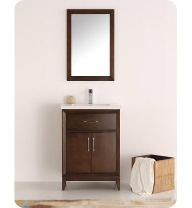Cambridge Collection Fvn2124ac 24 Traditional Bathroom Vanity With Mirror  2 Soft Close Doors  Tapered Legs And Integrated Ceramic Sink & Countertop In