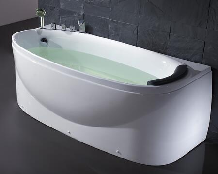 LK1104-L White Left Drain Acrylic 6' Soaking Tub with