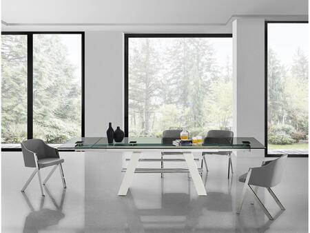 Evolution Collection CBD2046XLGASET 5 PC Dining Room Set with Extendable Clear Tempered Glass Top Dining Table and 4 Dark Grey Eco-Leather Upholstered Dining
