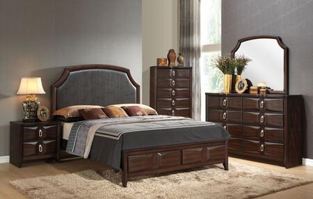 Lancaster 24570Q5PC Bedroom Set with Queen Size Bed + Dresser + Mirror + Chest + Nightstand in Espresso