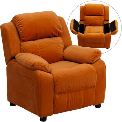 BT-7985-KID-MIC-ORG-GG Deluxe Heavily Padded Contemporary Orange Microfiber Kids Recliner with Storage