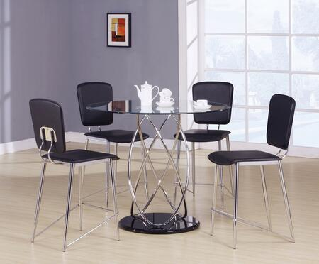Deron 70935T4C 5 PC Bar Table Set with Counter Height Table + 4 Chairs in Chrome