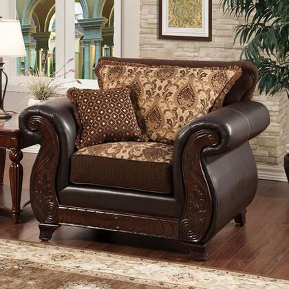 Franklin Collection SM6106N-CH 48 inch  Chair with Rolled Arms  Intricate Wood Trim and Fabric & Leatherette Upholstery in Dark