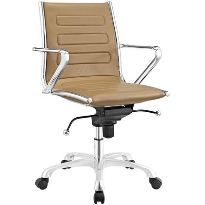 Ascend Collection EEI-2214-TAN Office Chair with Swivel Seat  Adjustable Height  Tension Control Knob  Chrome Plated Steel Frame  Polished Aluminum Base and
