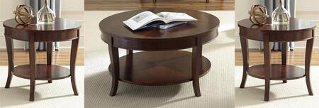 Bradshaw Collection 748-OT-3PCS 3-Piece Living Room Table Set with Round Cocktail Table and 2 Round End Tables in Rich Cherry