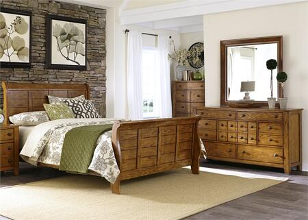Grandpa's Cabin Collection 175-BR-KSLDMC 4-Piece Bedroom Set with King Sleigh Bed  Dresser  Mirror and Chest in Aged Oak