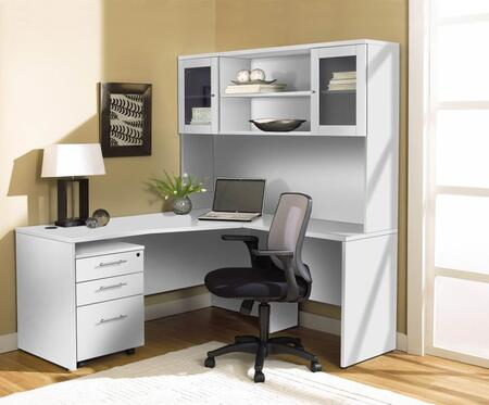 1C100002RWH White Corner L Shaped Desk with Hutch and Mobile