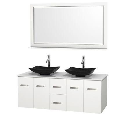Wcvw00960dwhwsgs4m58 60 In. Double Bathroom Vanity In White  White Man-made Stone Countertop  Arista Black Granite Sinks  And 58 In.
