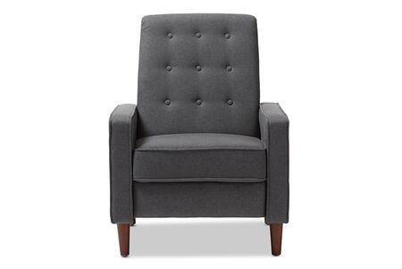 Baxton Studio Mathias Mid-century Modern Grey Fabric Upholstered Lounge Chair/Mid-Century/Grey/Fabric Dacron 100%/Eucalyptus Wood/HDF/Foam