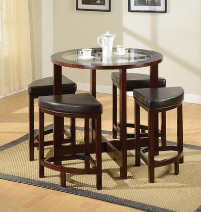 Patia 70360T4C 5 PC Bar Table Set with Counter Height Table + 4 Chairs in Espresso