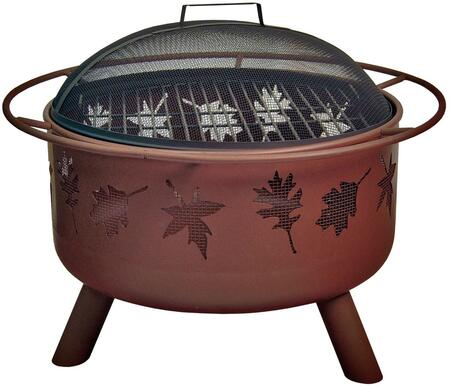 28673 Big Sky Firepits with Tree Leaves Pattern  12.5 Deep Firebowl  Cooking Grate  Spark Screen and Steel Construction in Georgia Clay