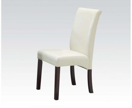 71365 Set of 2 Ripley Side Chairs with Ivory Bycast PU Upholstery and Espresso