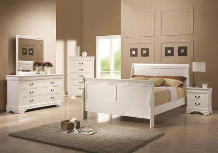 204691q5p Louis Philippe 204 5-piece Bedroom Set With Queen Sleigh Bed  Chest  Dresser  Mirror And Single