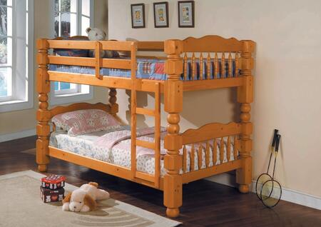 Benji Collection 02575 Twin Over Twin Bunk Bed with Supported Slats  Convertible Option   Safety Rails  Ladder and Rounded Posts in Honey Oak