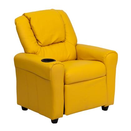 DG-ULT-KID-YEL-GG Contemporary Yellow Vinyl Kids Recliner with Cup Holder and 295350