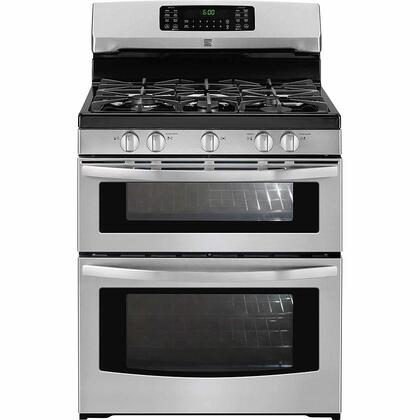 78043 30 Freestanding Double Oven Gas Range with 5 Burners  5.9 cu. ft. Total Capacity  Continuous Cast Iron Grates and Convection Oven in Stainless