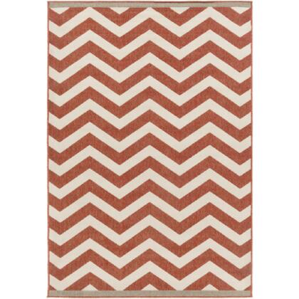 Alfresco ALF9647-5376 5'3 inch  x 7'6 inch  Rectangular 100% Polypropylene Rug with Low Pile  Loop Texture  and Machine Made in Egypt in Cherry and