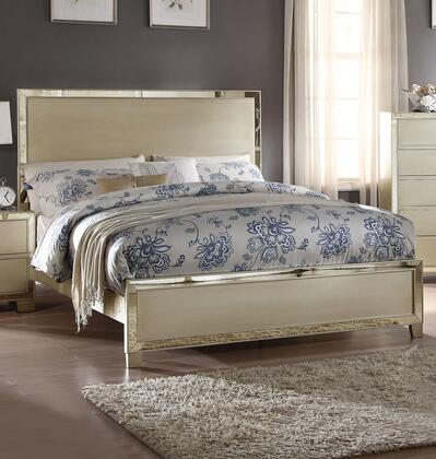 Voeville II Collection 27140Q Queen Size Bed with High Headboard  Low Profile Footboard  Mirror Trim Inlay  Medium-Density Fiberboard (MDF) and Wood Veneer