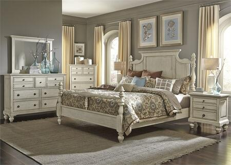 High Country Collection 697-BR-KPSDMCN 5-Piece Bedroom Set with King Poster Bed  Dresser  Mirror  Chest and Night Stand in White
