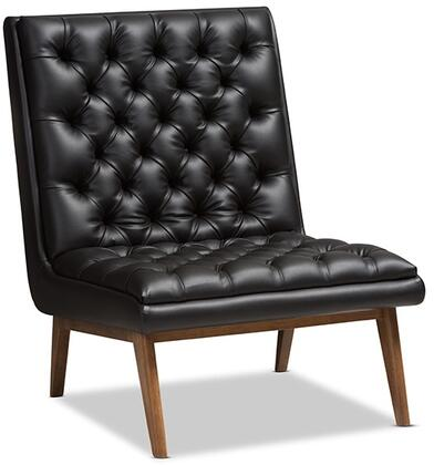 Annetha Collection BBT5272PINEBLACKCC Chair with Mid-Century Style  Button-Tufted Foam Padded Seat  Walnut Rubberwood Tapered Legs and Faux Leather Upholstery