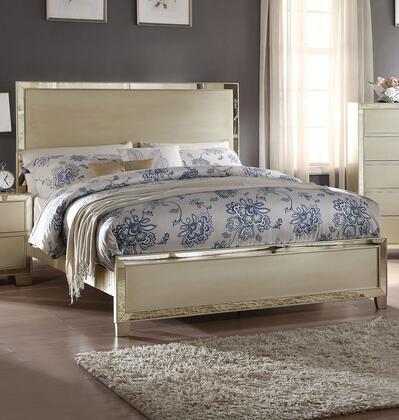 Voeville II Collection 27137EK King Size Bed with High Headboard  Low Profile Footboard  Mirror Trim Inlay  Medium-Density Fiberboard (MDF) and Wood Veneer