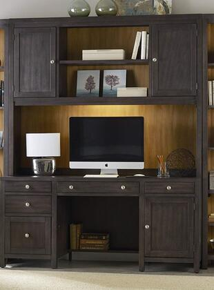 South Park 5078-1046467 2-Piece Computer Credenza and Hutch Set with Charging Station  Locking File Drawer and 1 Task Light in Brownish