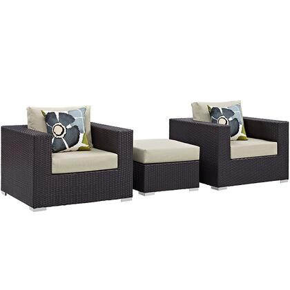 Convene Collection EEI-2363-EXP-BEI-SET 3-Piece Outdoor Patio Sofa Set with Ottoman and 2 Armchairs in Espresso and