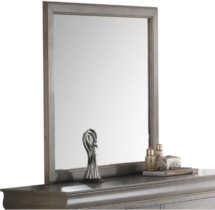 Louis Philippe III Collection 25504 36 inch  x 38 inch  Mirror with Rectangular Shape  Engineered Wood  Solid Pine Wood and Gum Veneer Construction in Antique Grey