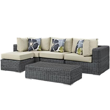Summon Collection EEI-2398-GRY-BEI-SET 5-Piece Outdoor Patio Sunbrella Sectional Set with Armless Chair  Coffee Table  Ottoman and 2 Corner Sections in Canvas