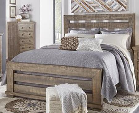Willow P635-80-81-78 King Sized Slat Bed with Headboard  Footboard and Side Rails in Weathered