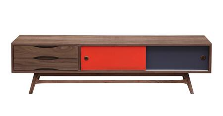 STO-MC-COLORPOP-WAL Color Pop Mid-Century Modern Media Cabinet  Walnut/Orange And Charcoal