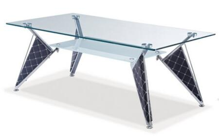 TA107C Glass Coffee Table  Clear Glass Top  Frosted Glass Shelf  and Stylish