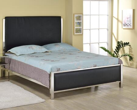 Johanna Collection 25095F Full Size Bed with Low Profile Footboard  Panel Headboard  Nickel Metal Frame and Crocodile Padded PU Leather Upholstery in Black