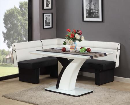 NATASHA-NOOK SET NATASHA DINING Nook Set - 5mm Starphire Glass with Wood Gloss White Dining Table and White/Black Fully Upholstered