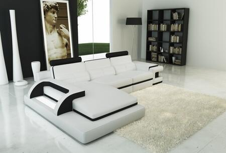 VGEV6122B Divani Casa 6122B Modern White and Black Bonded Leather Sectional Sofa with Left Arm Facing 73