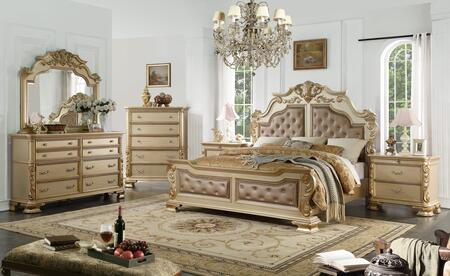 Miranda Collection MIRANDA KING BED SET 6-Piece Bedroom Set with King Size Bed  Dresser  Mirror  Chest and 2 Nightstands in
