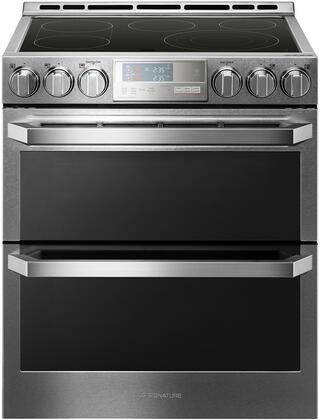 LUTE4619SN 30 inch  Slide-In Double Oven Electric Range with 7.3 cu. ft. Total Oven Capacity  5 Heating Elements  ProBake Convection  Meat Probe  and Wi-Fi Capable