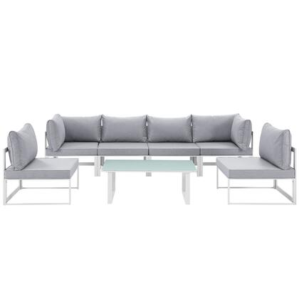 Fortuna Collection EEI-1729-WHI-GRY-SET 7-Piece Outdoor Patio Sectional Sofa Set with 2 Corner Sections  4 Center Sections and Coffee Table in White and