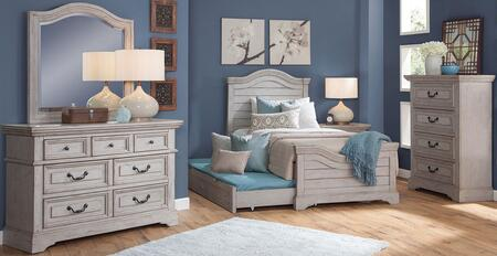 Stonebrook Youth Collection 7820-46PAN-906-NSMRDRCD 5-Piece Bedroom Sets with Full Panel Bed  Nightstand  Mirror  Dresser and Chest in Antique