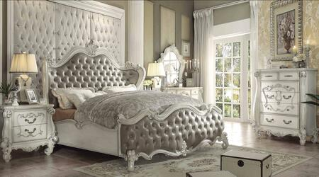 Versailles Collection 21147EKSET 6 PC Bedroom Set with Eastern King Size Bed + Dresser + Mirror + Chest + 2 Nightstands in Bone White